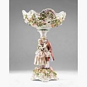 Late 19th C. Sitzendorf German Porcelain Compote