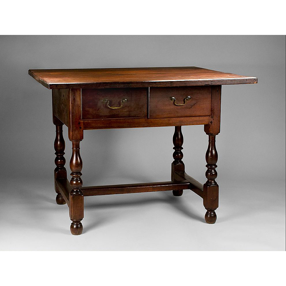 1780 New England Walnut Tavern Table With Two Drawers