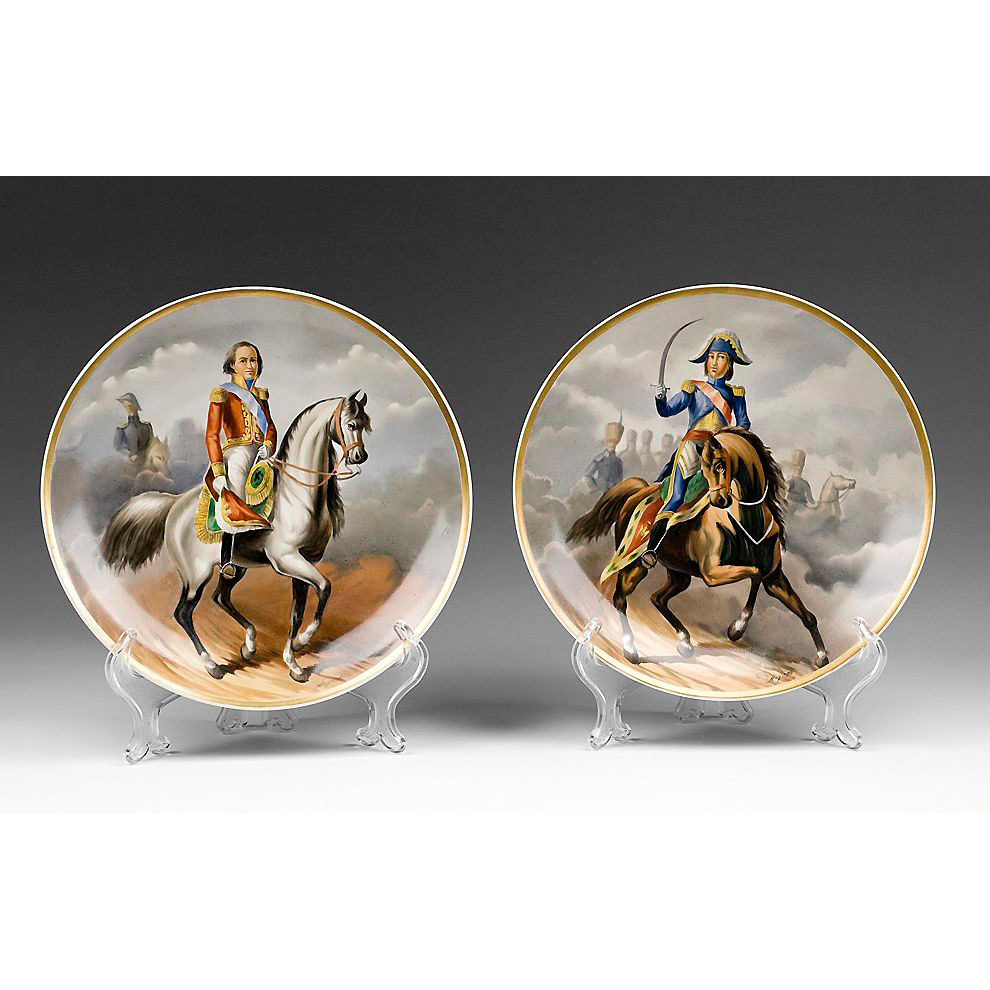 Pr. Of Hand Painted Paris Porcelain Napoleonic Cabinet Plates
