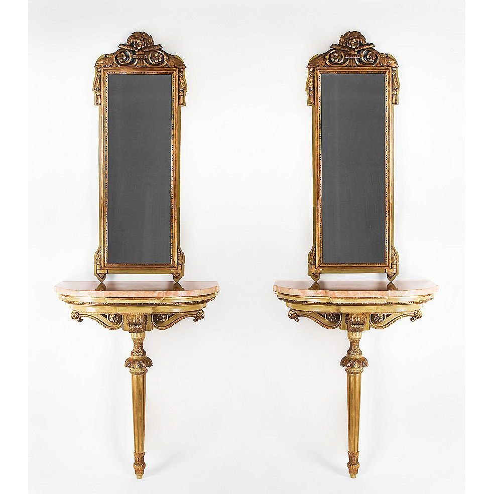 Florentine Painted Marble Top Consoles With Companion Mirrors