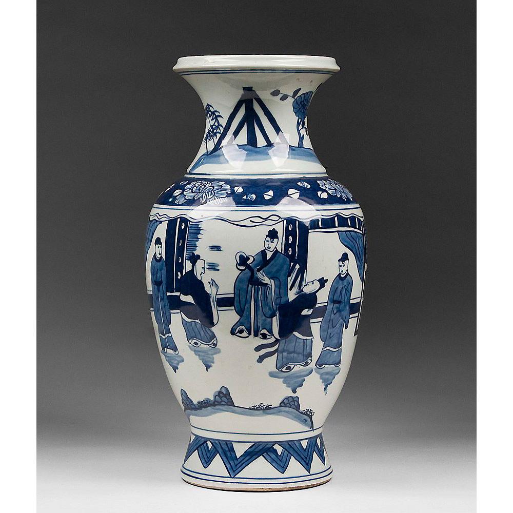 Blue & White Chinese Canton Porcelain Vase