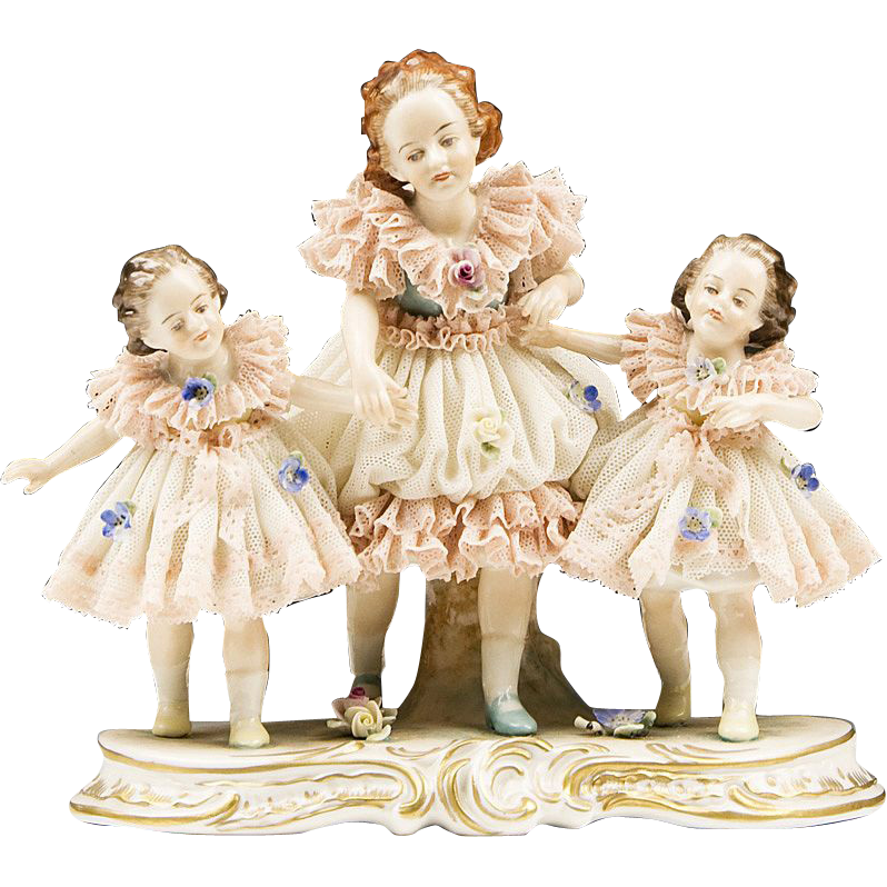 Volkstedt Porcelain Figurine of Three Girls In Lacy Dresses