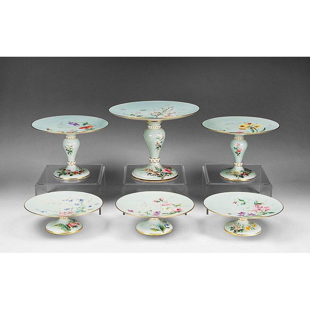 Early 19th C. English Hand Painted Set of Six Buffet Compotes or Tazzas