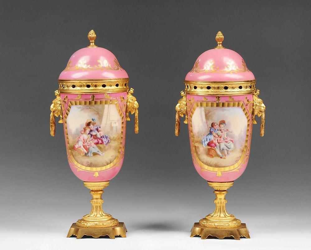 Pr. of 19th C. Paris Porcelain Hand Decorated Urns