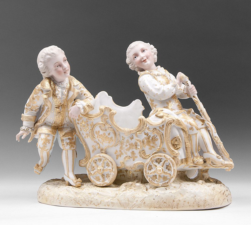 German Dresden Hand Painted Porcelain Figures on Carriage