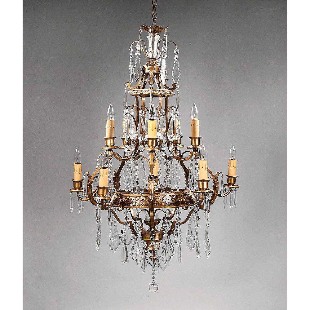 Crystal And Bronze Chandelier Cage Shaped Hand Cut