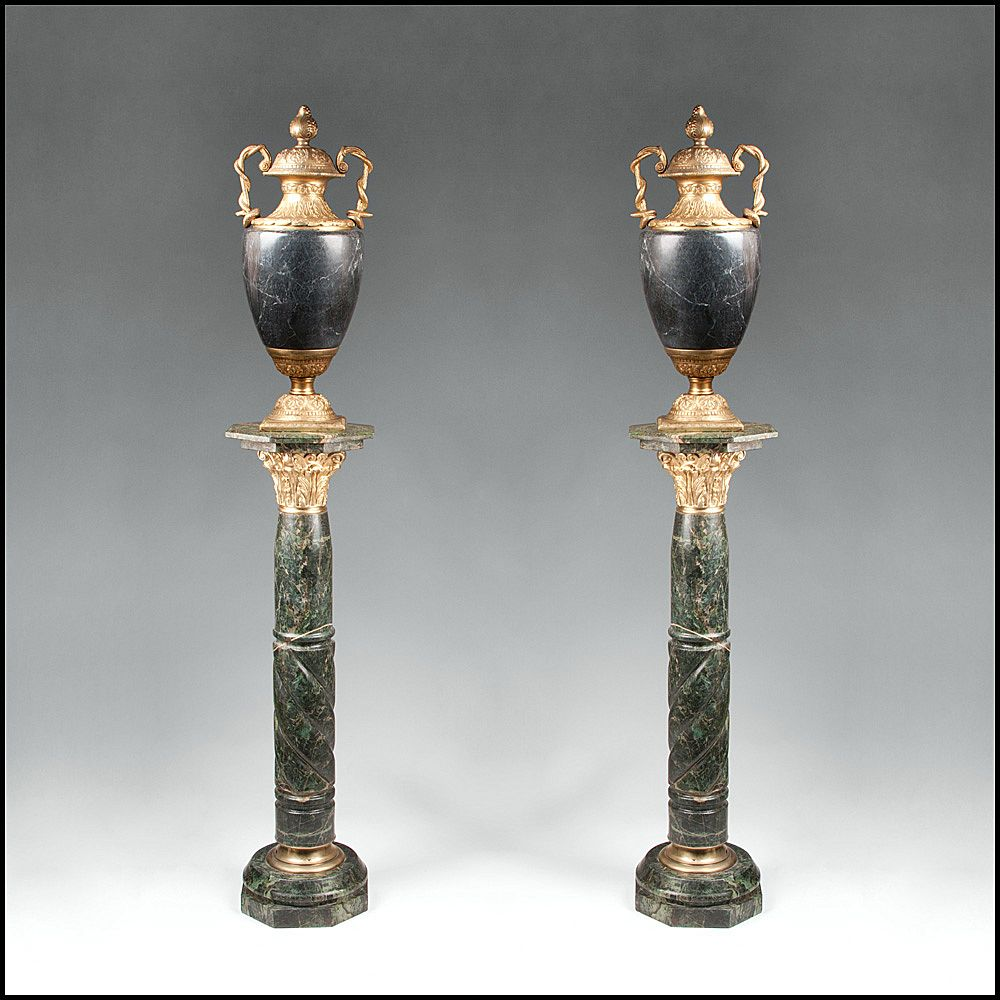 Pair of Marble Pedestals Surmounted With Marble Urns