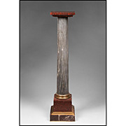 19th C. Empire Gray and Porphyry Marble Pedestal With Bronze Mounts