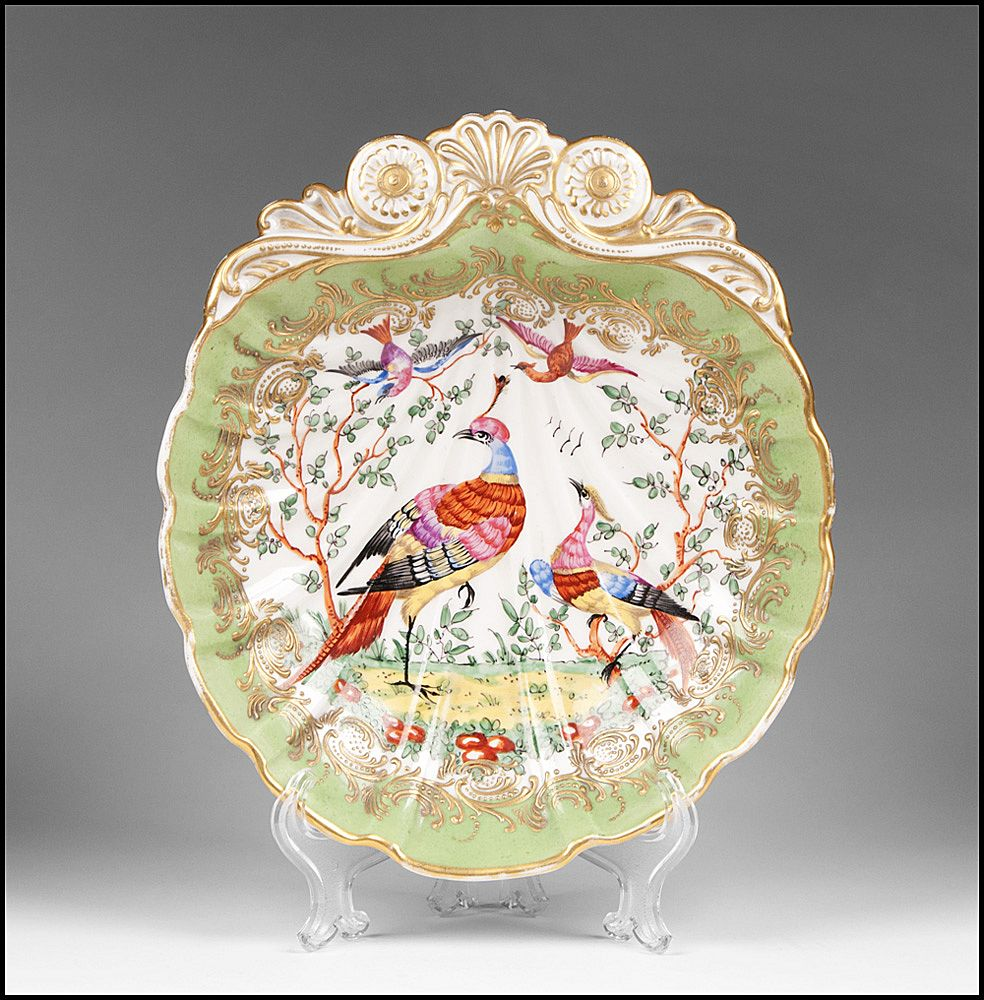 Chelsea Style Porcelain Shell Form Bowl, Pheasants