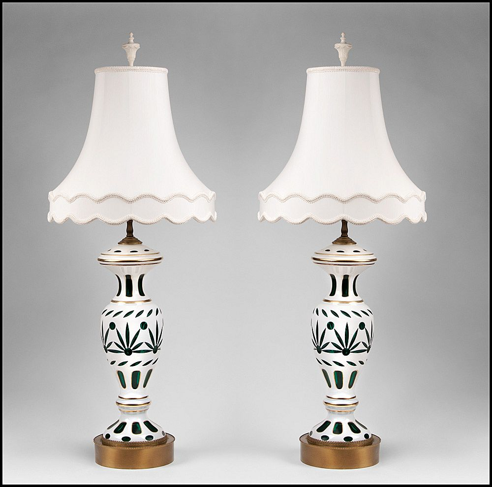 Pair of Early 20th C. Bohemian Glass Opaline Overlay Cut to Green Lamps