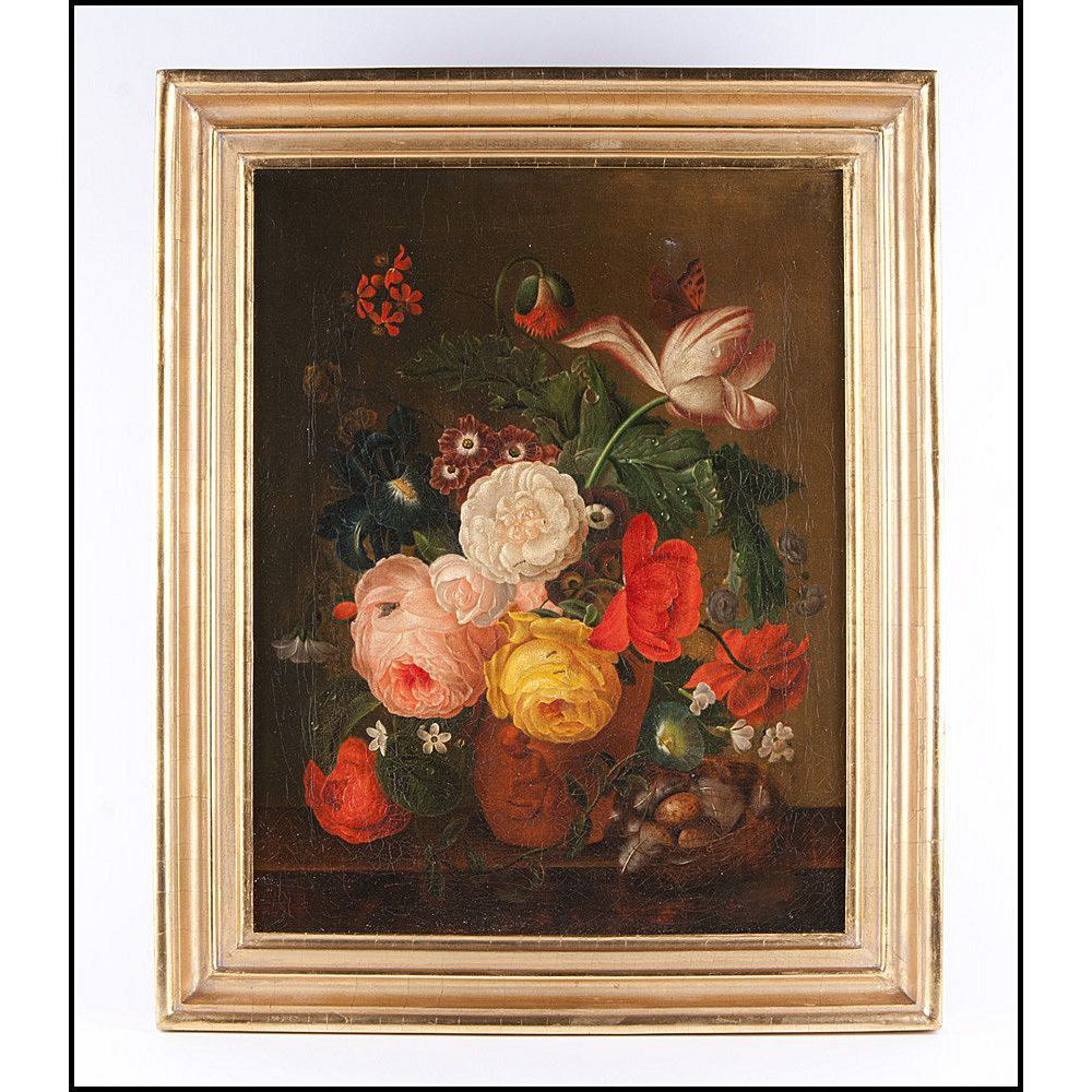 Mid 19th C. Floral Dutch Oil Painting On Canvas After Jan Van Huysum
