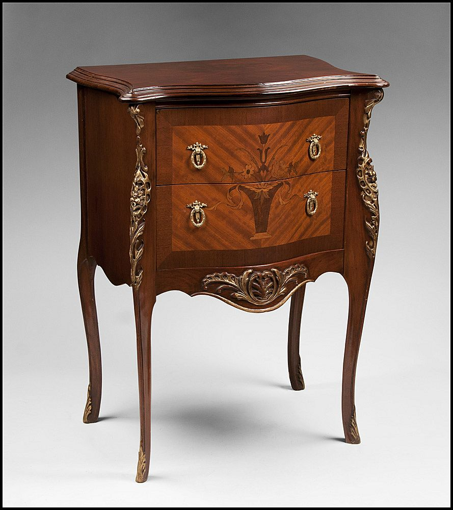 louis xv style two drawer inlaid side table or nightstand from piatik on ruby lane. Black Bedroom Furniture Sets. Home Design Ideas