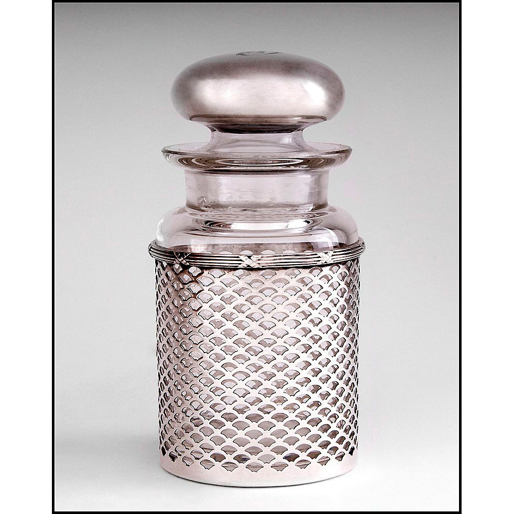 Man's Stoppered Cologne Bottle Inset In Sterling Gillwork Frame, Meriden Britannia Co.