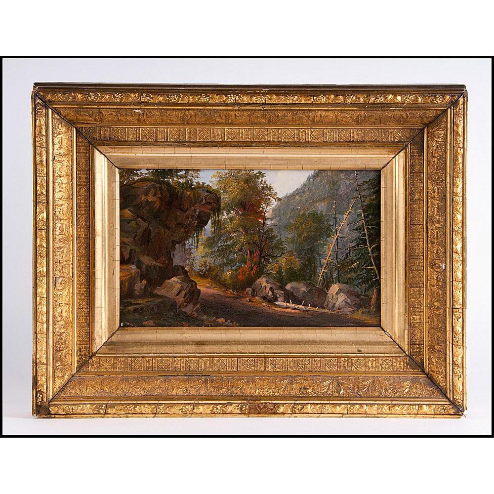 Antique Wooded Landscape Oil On Panel