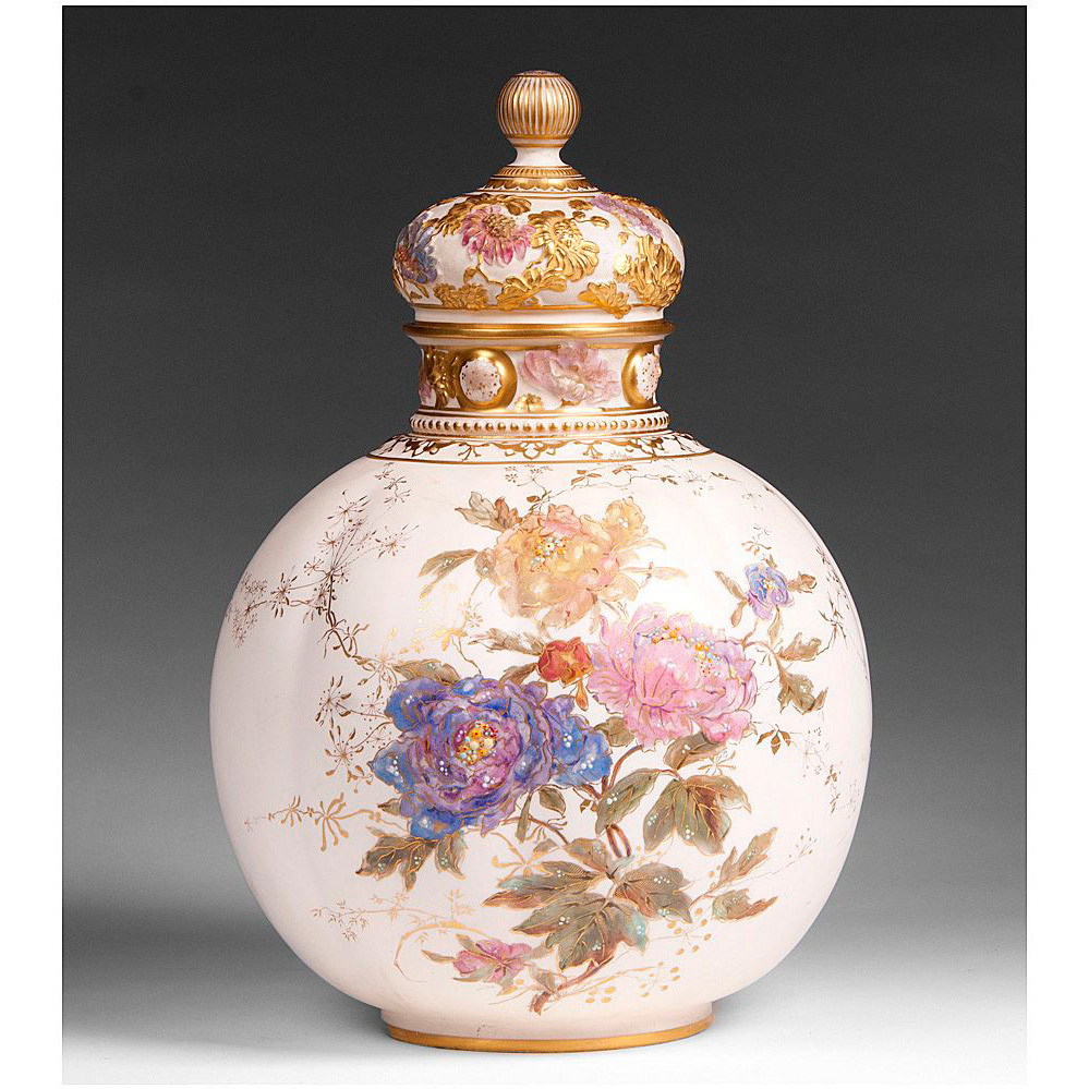 19th C. Royal Crown Derby Enameled Vase With Cover
