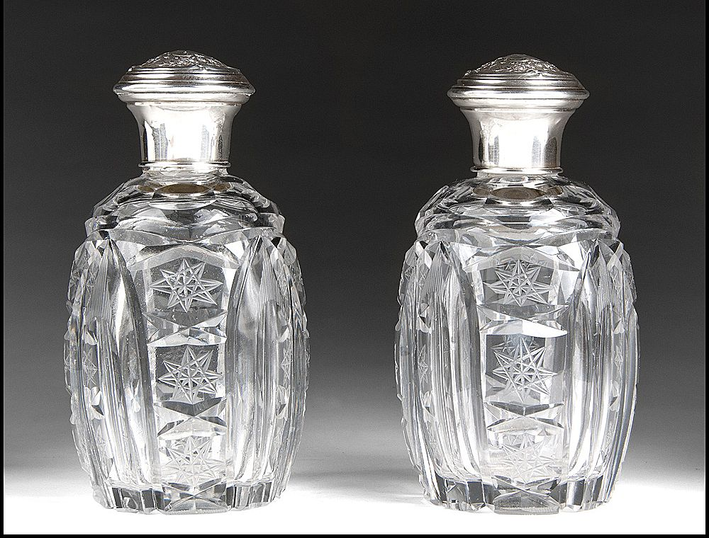 Matched Pair of Cut Glass Perfume Bottles With Sterling Covers