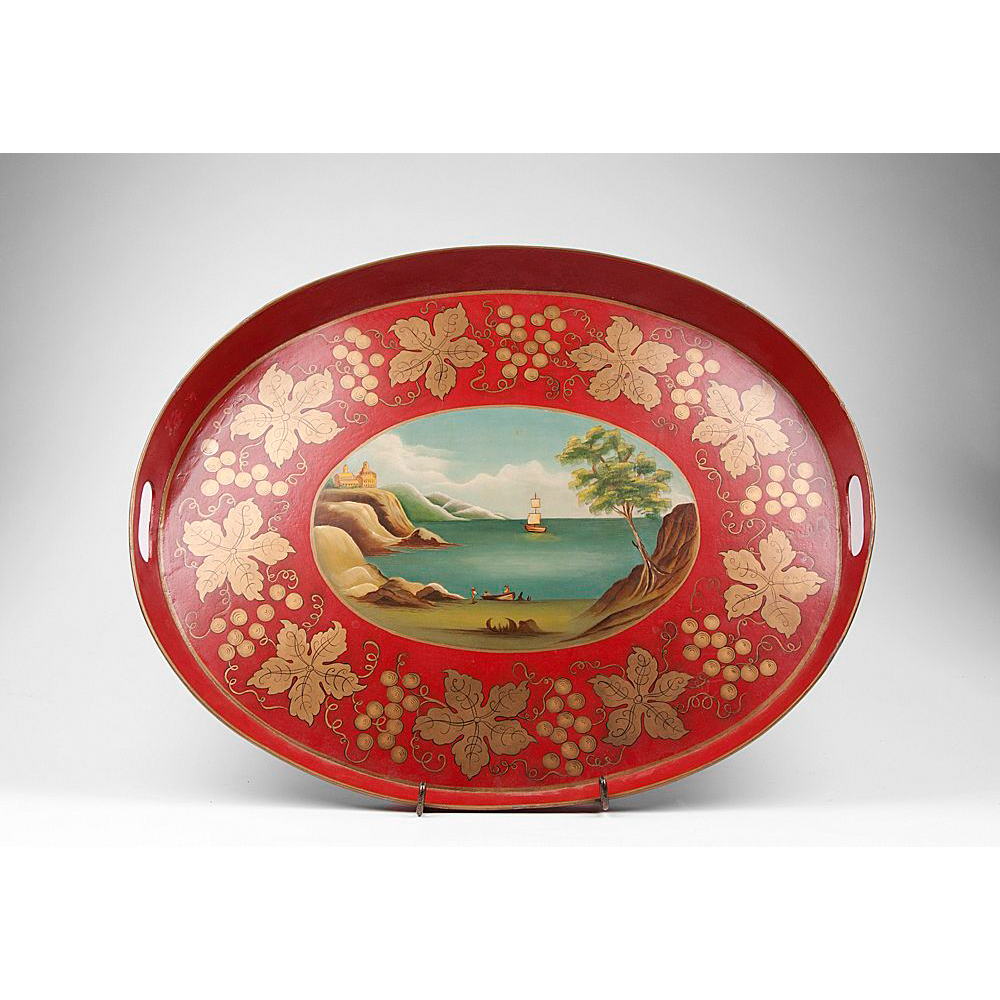 19th C. Red French Tole Tray, Hand Painted Seascape