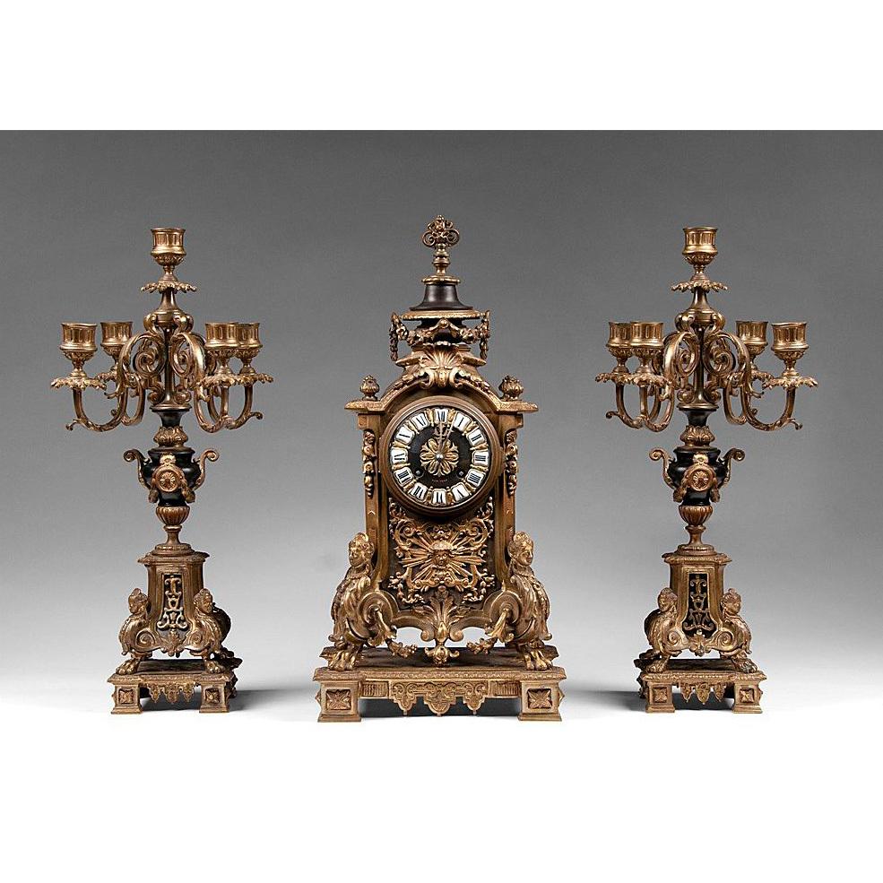 Three Piece 19th Century Tiffany & Co. Clock Garniture Set