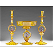 Italian Salviati Murano Glass Console or Garniture Set