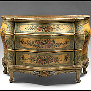 Painted Lacca Povera Venetian Commode or Chest, 19th Century, Floral Reserves