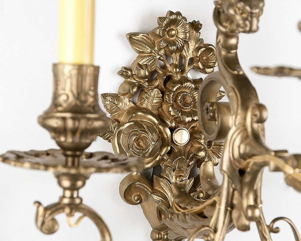 19th c bronze cast french baroque style three arm sconces for French baroque style