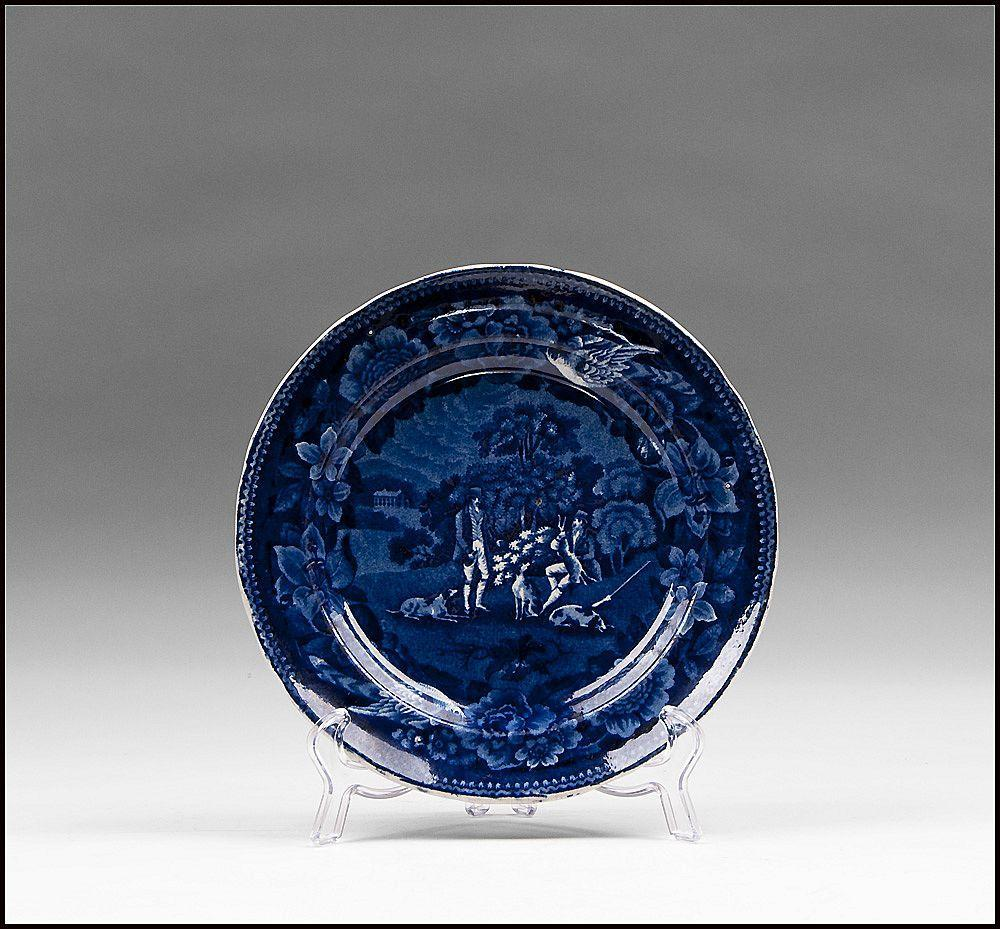 Dark Blue Staffordshire Transferware Plate, 1830, Hunting Series