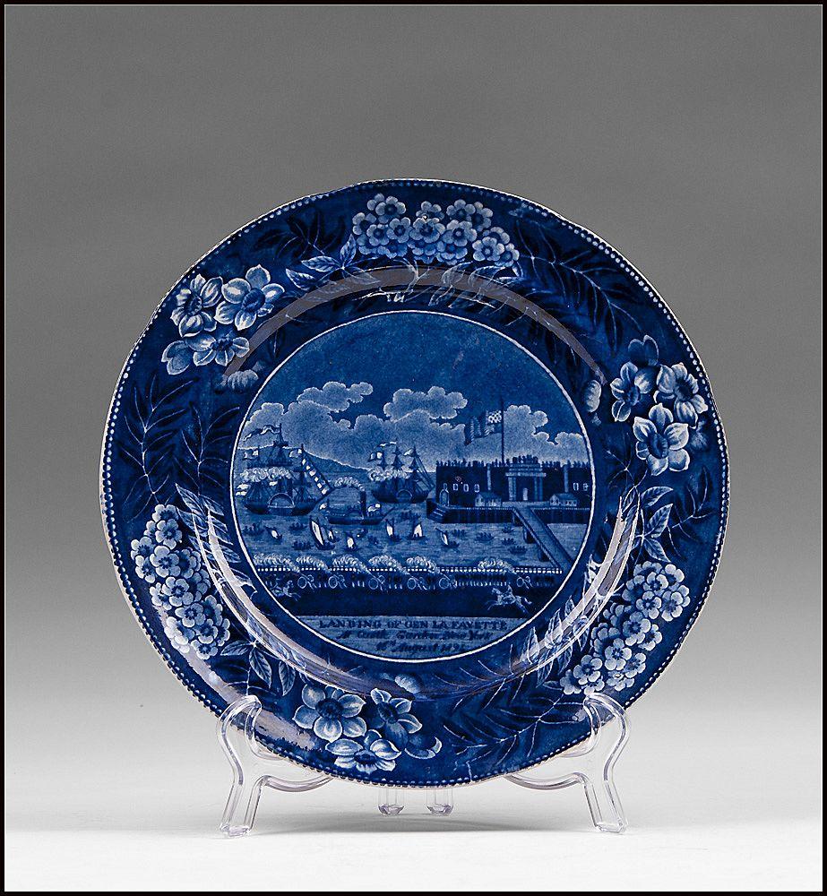 Historical Dark Blue Staffordshire Clews Plate, Landing of General Lafayette