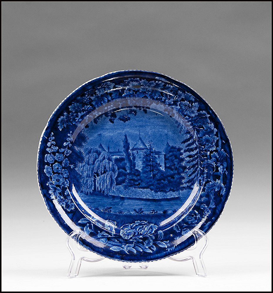 Dark Blue Staffordshire Transferware Plate, Foliage Border Series, Wistow Hall