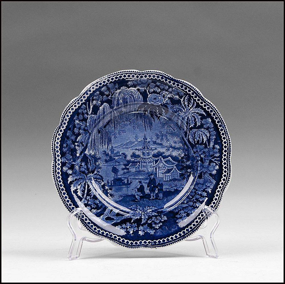 James & Ralph Clews Blue Transferware Plate, Weeping Willow Border #14