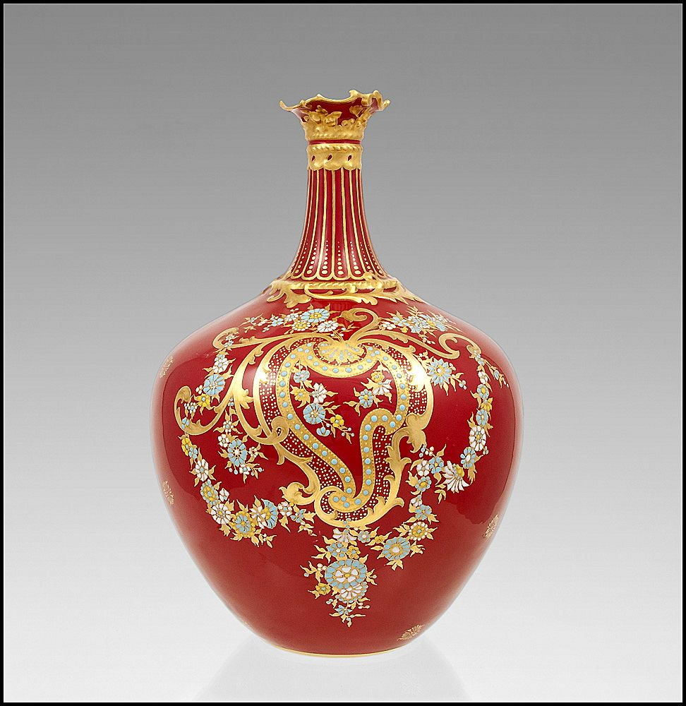 1891-1921 Royal Crown Derby Enameled Vase