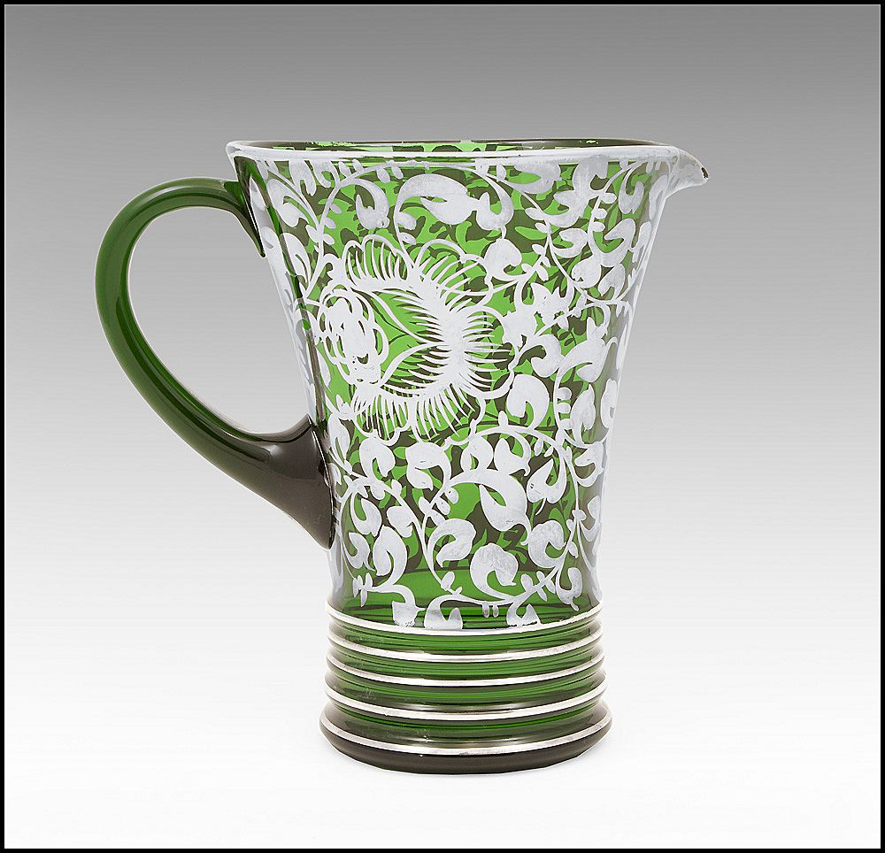 1930 Silver Deposit Green Blown Glass Pitcher