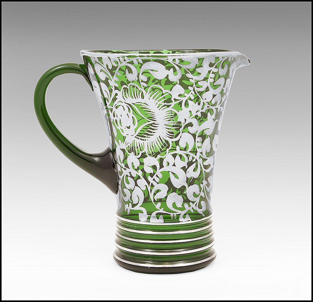1930 Silver Deposit Green Blown Glass Pitcher