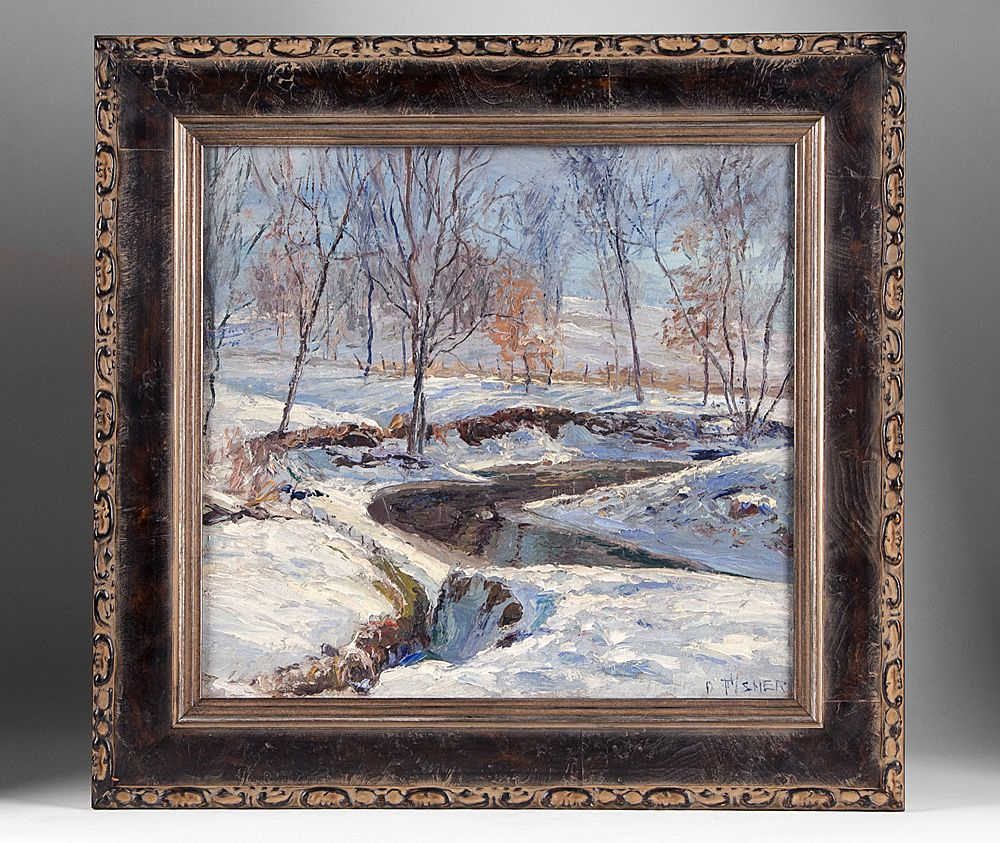 Winter Landscape Oil On Board by Early 20th Artist D. Fisher