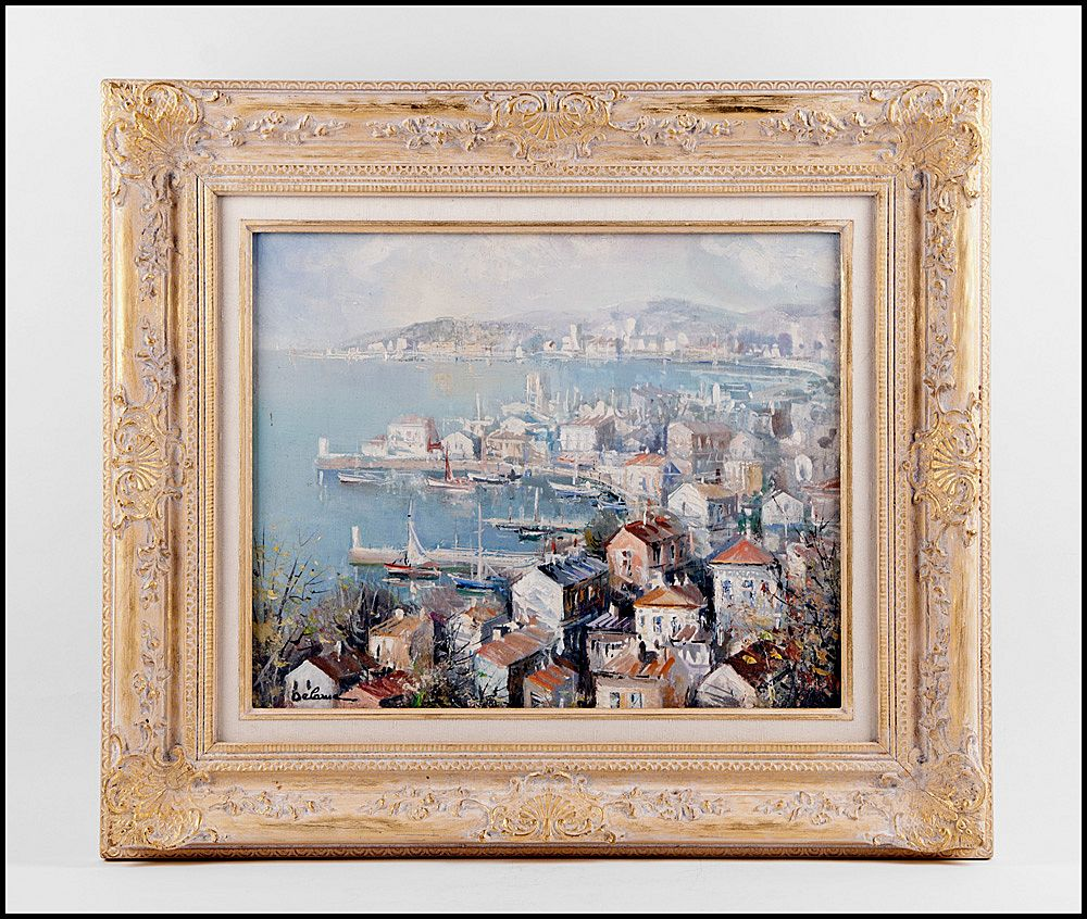 Lucien Delarue Oil On Canvas, Port de Nice