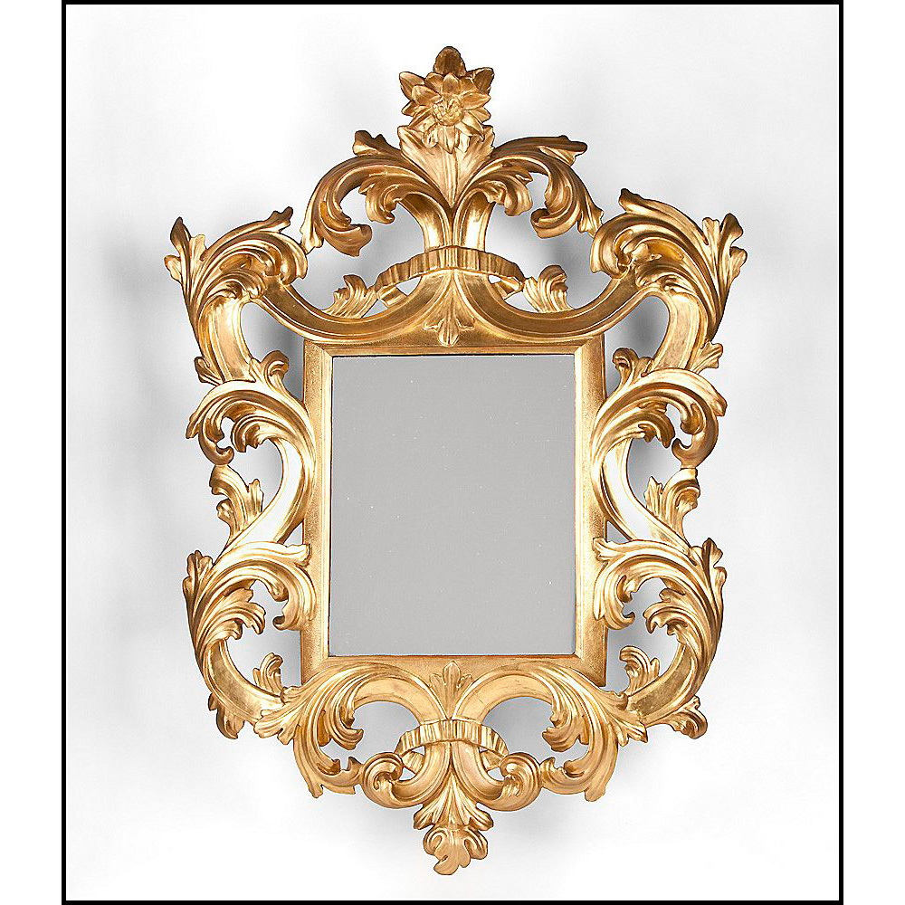 Early 19th C. Florentine Scrolled Giltwood Mirror