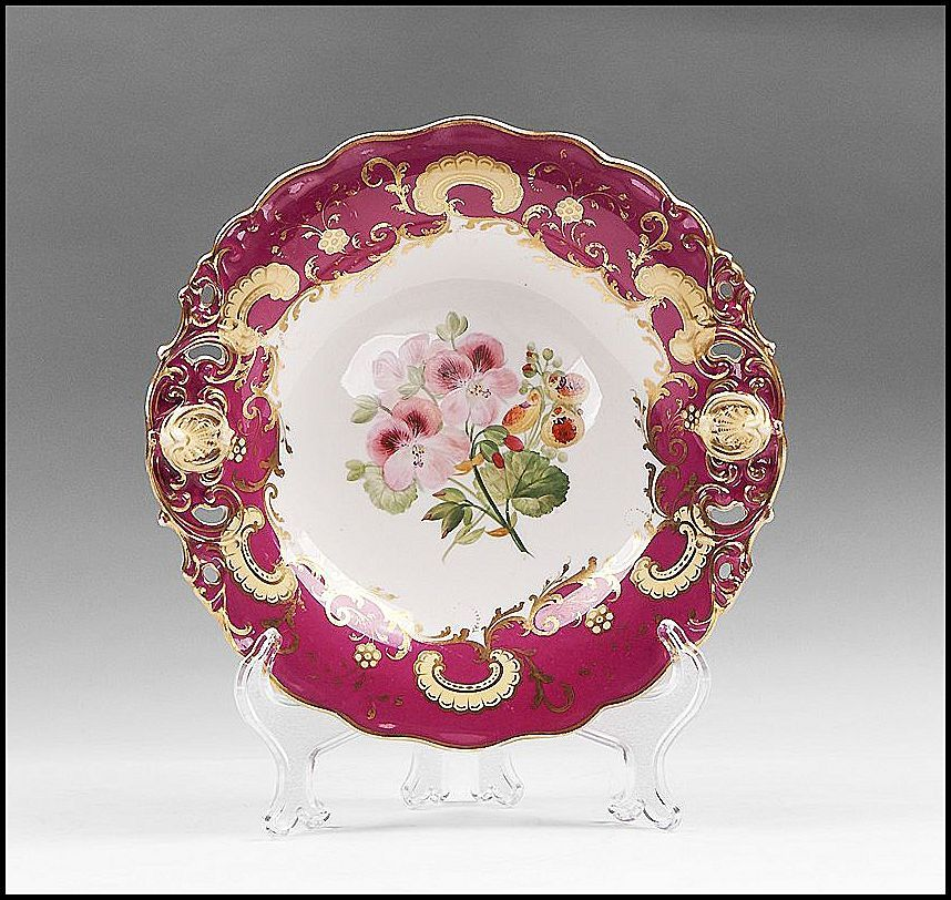Copeland Spode Porcelain Hand Painted Comporte Or Compote, 1852