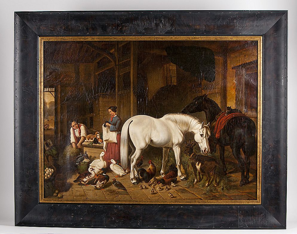Mid 19th C. Oil On Canvas Interior Barn Scene After John F. Herring, Jr.
