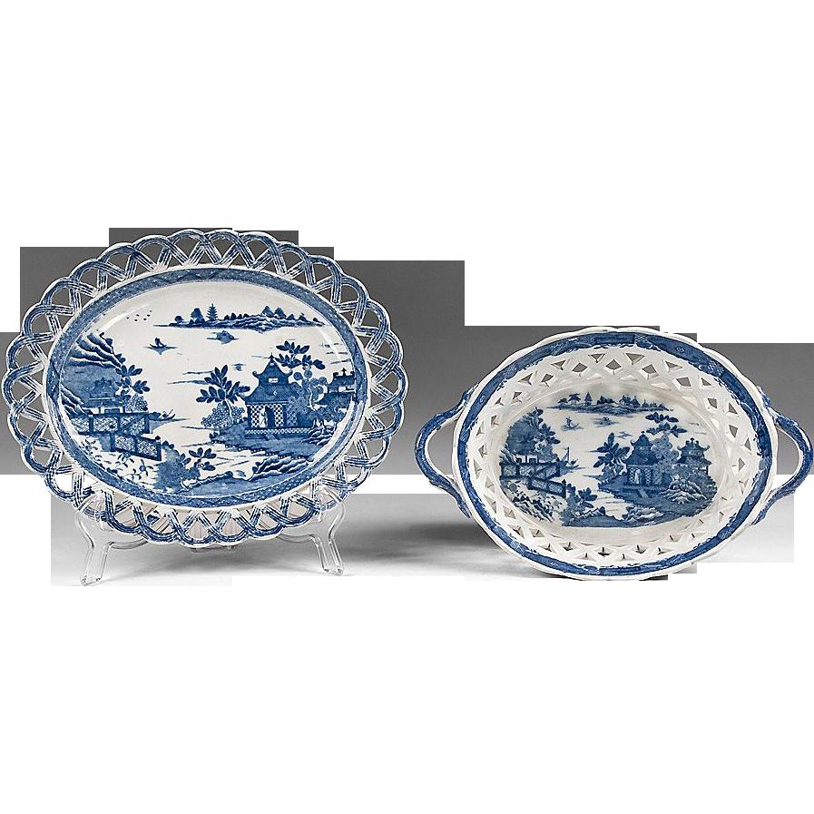 Chinoiserie Bridgeless, 1810-20, English Pearlware Chestnut Basket & Stand