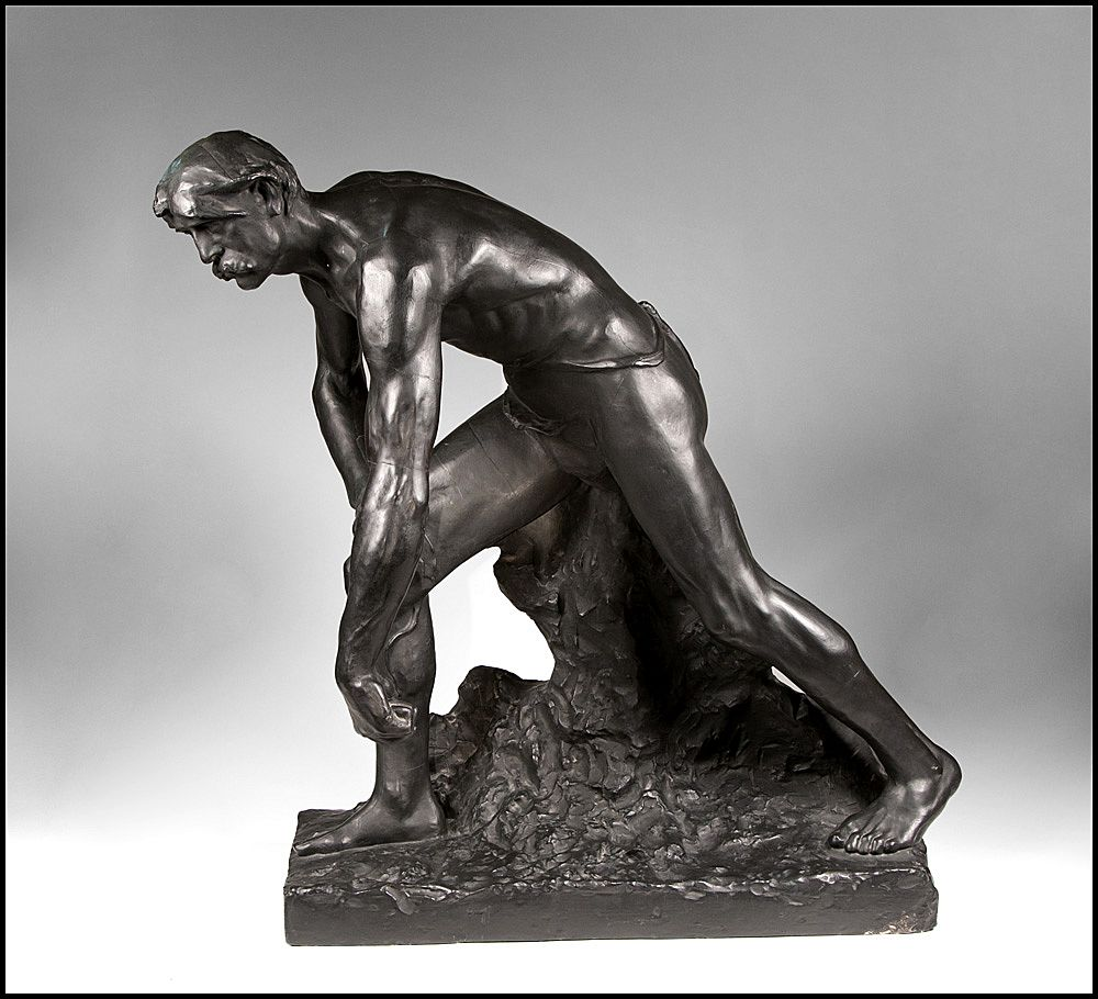 19th C. French Cast Plaster Model of A Hunter