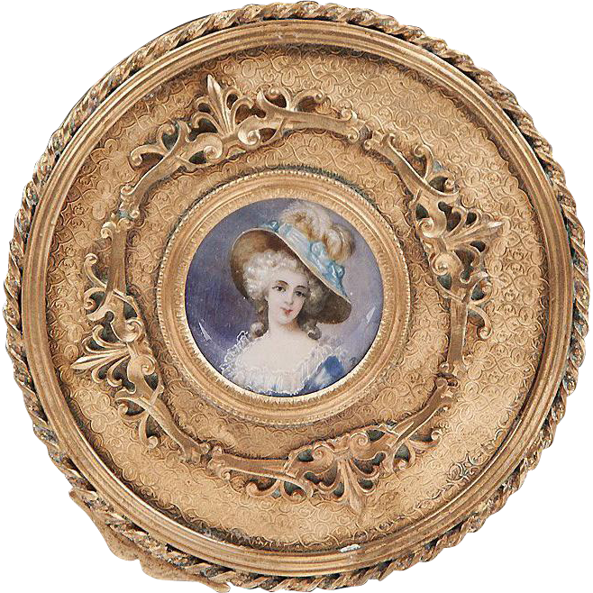 19th C. Gilt Bronze Jewelry Casket or Box With Inset Portrait