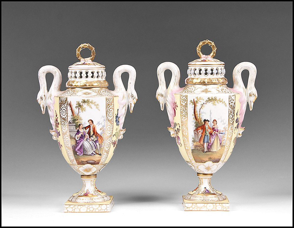Matched Pair of Helena Wolfsohn Dresden Bolted Urns With Covers