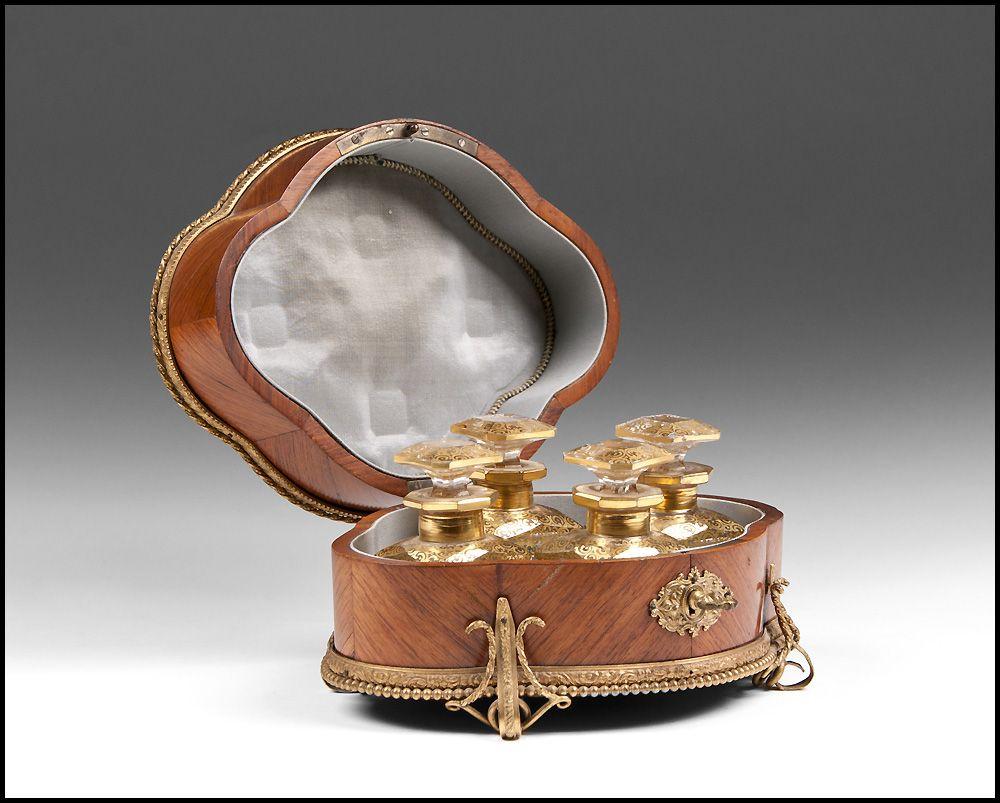 19th Century Louis XV Parquetry Perfume Casket, Four Bottles