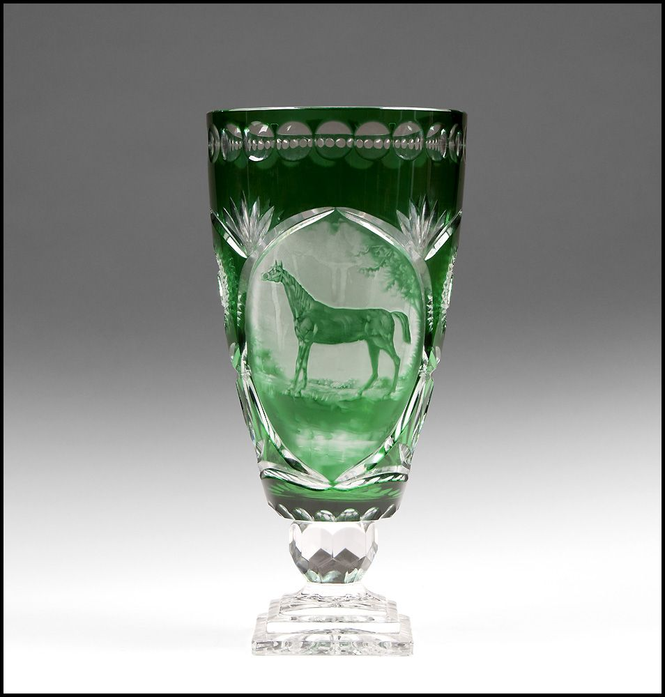 green cut to clear bohemian glass vase engraved horse
