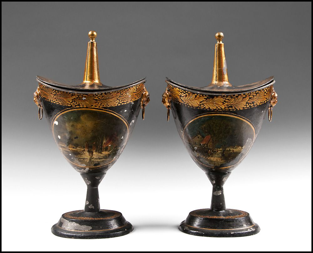 Pair of Early 19th Century Regency Tole Peinte Covered Chestnut Urns