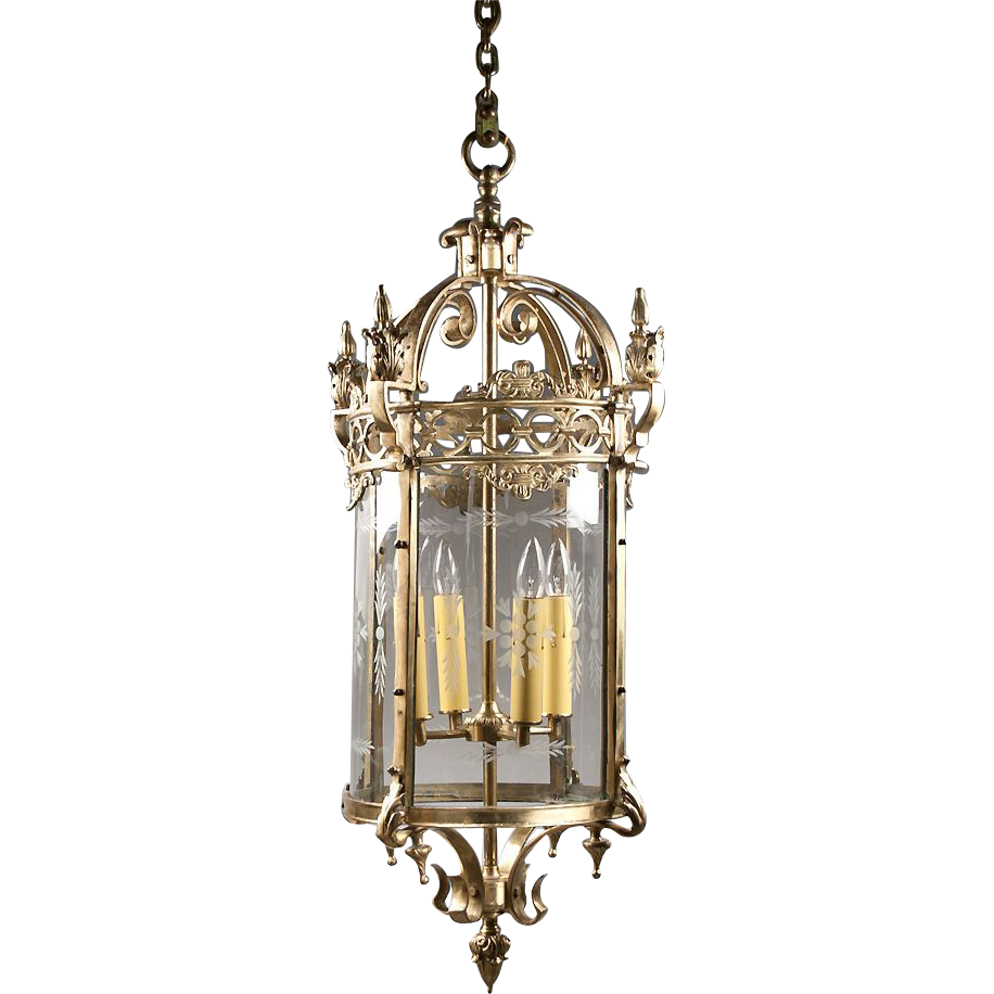 French Gilt Bronze Lantern With Engraved Glass Panels