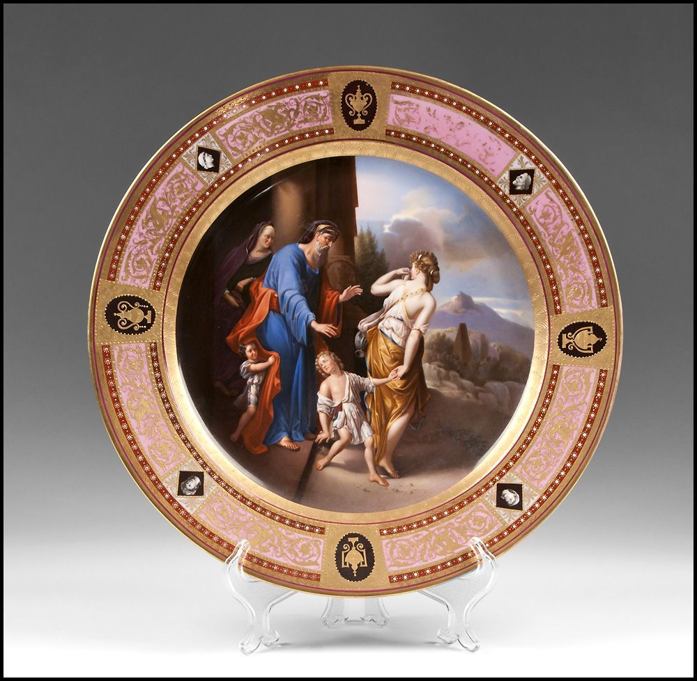 Hand Painted Royal Vienna Charger Titled Verstosung der Hagar