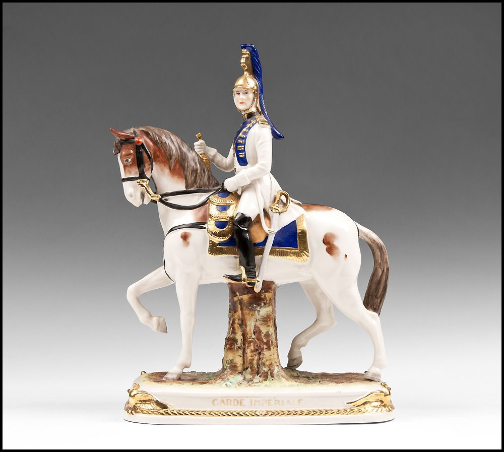 "German Kister, Scheibe Alsbach Mounted Porcelain Soldier, ""Garde Imperiale"""