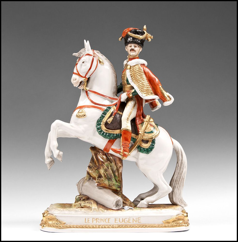 "German Kister, Scheibe Alsbach Mounted Porcelain Soldier, ""Le Prince Eugene"""