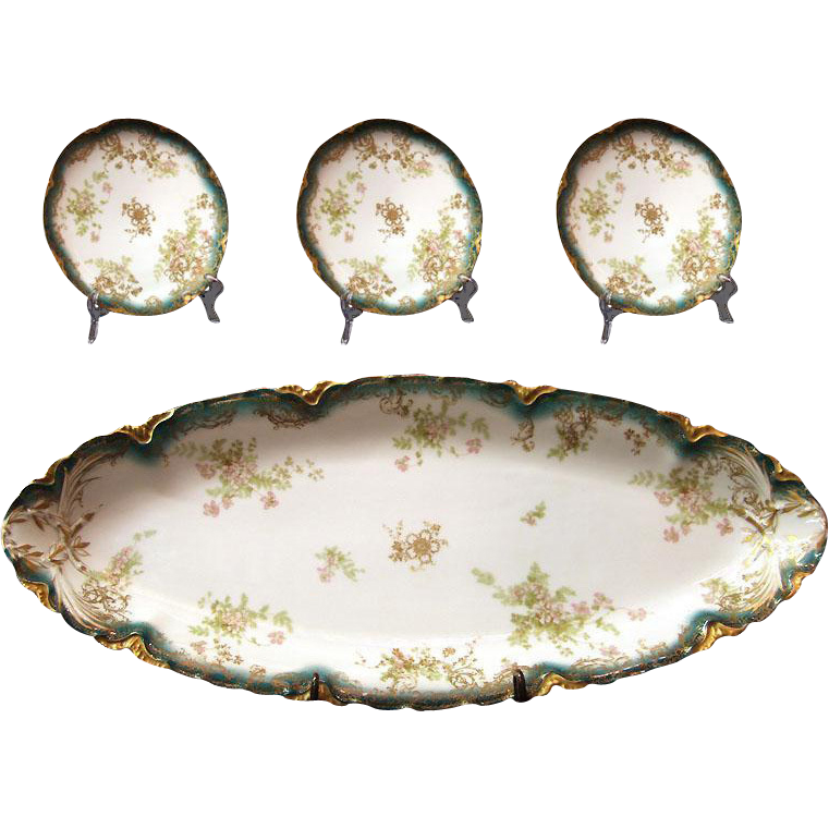 Late 19th C. Haviland & Co. Limoges Porcelain Fish Set