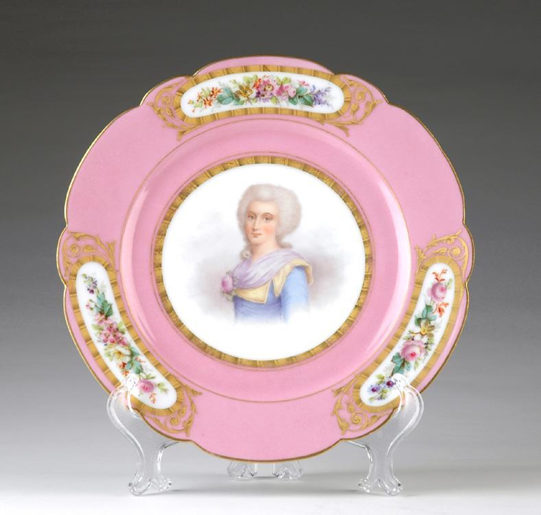 19th C. Chateau Des Tullieries Hand Painted Portrait Plate